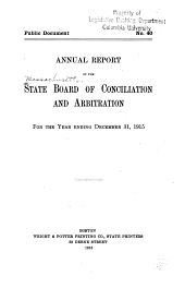 Annual Report of the State Board of Conciliation and Arbitration: Volume 30