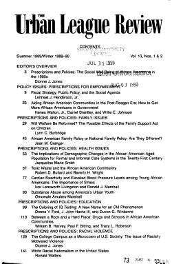 The Urban League Review PDF