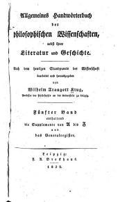 Allgemeines handworterbuch der philosophischen wissenschaften: nebst ihrer literatur und geschichte, Band 5