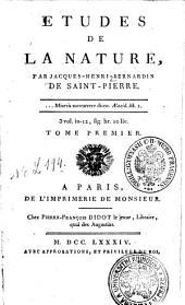 ETUDES DE LA NATURE.: TOME PREMIER, Volume1