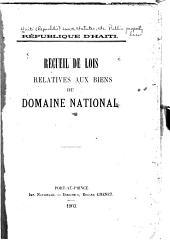 Recueil de lois relatives aux biens du domaine national