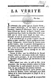 La Vérité [in reference to the affairs and prospects of Belgium].