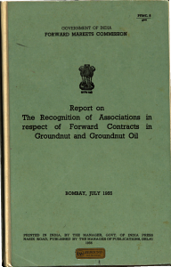 Report on the Recognition of Associations in Respect of Forward Contracts in Groundnut and Groundnut Oil PDF