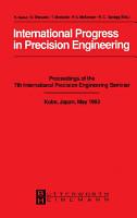 International Progress in Precision Engineering PDF