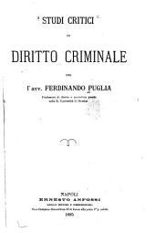 Studi critici di diritto criminale