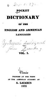 Pocket Dictionary of the English and Armenian Languages: Volumes 1-2