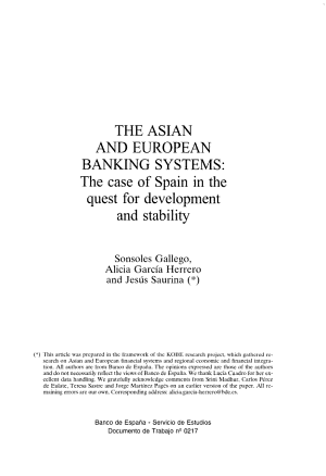 The Asian and European Banking Systems PDF