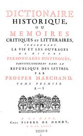 Dictionaire historique ou memoires critiques et litteraires concernant la vie et les ouvrages de divers personnages distingues (etc.)