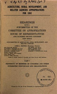Agriculture  Rural Development  and Related Agencies Appropriations for 1992 PDF