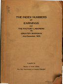 The Index Numbers of Earnings of the Factory Laborers in Greater Shanghai PDF