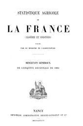 Statistique agricole de la France (Algérie et colonies)