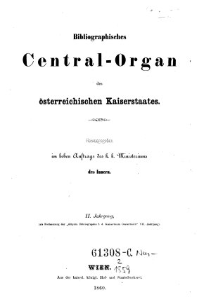Bibliographisches Centralorgan des oesterreichischen Kaiserstaates PDF