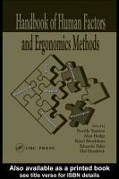 Handbook of Human Factors and Ergonomics Methods PDF