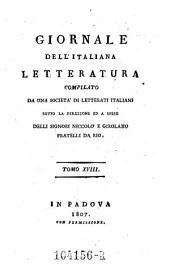 Giornale dell'Italiana letteratura: Volume 18