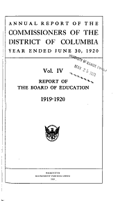 Annual Report of the Actions of the Board of Education for ...