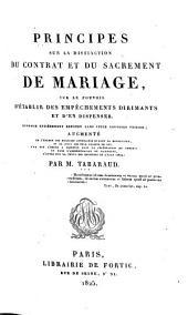 Principes sur la distinction du contrat et du sacrement de mariage ...