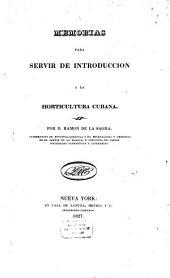 Memorias para servir de introducción a la horticultura cubana