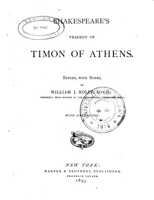 Shakespeare s Tragedy of Timon of Athens