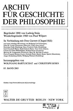 Archiv f  r Geschichte der Philosophie PDF