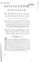 Instruction pastorale de M. l'archevêque de Lyon, pour le carême de l'année 1798