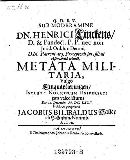 Metata militaria Nulgo Einquartierungen  praes  Herr  Linck    Altdorfii  Jo  Nenr  Sch  nnerst  dt 1675 PDF