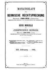 Monatsblatt für bernische rechtsprechung ...: Revue mensuelle de jurisprudence bernoise, Band 12