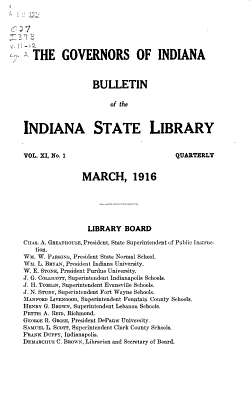 Bulletin of the Indiana State Library PDF