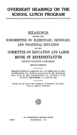 Oversight Hearings on the School Lunch Program PDF