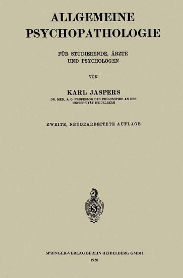 Allgemeine Psychopathologie f  r Studierende    rzte und Psychologen PDF