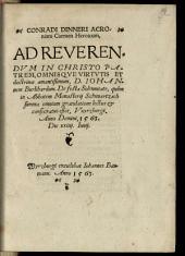 Conradi Dinneri Acroniani Carmen heroicum, ad reverendum in Christo patrem, ... Iohannem Burkhardum de festa solennitate ...