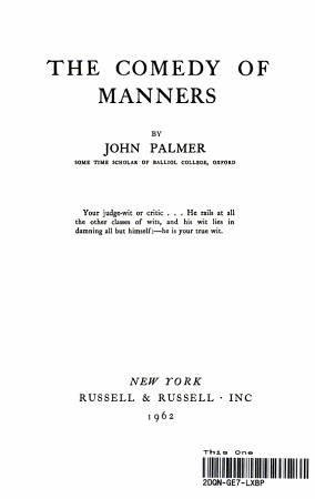 the Comedy of Manners  PDF