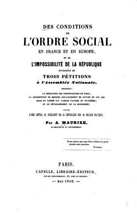 Des conditions de l ordre social en France et en Europe PDF