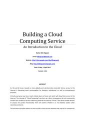 Building a Cloud Computing Service: An Introduction to the Cloud