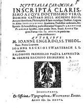 Nuptialia Carmina inscripta Casparo Hell ... et Florent. Plankiae