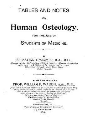 Tables and Notes on Human Osteology