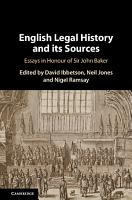 English Legal History and its Sources PDF