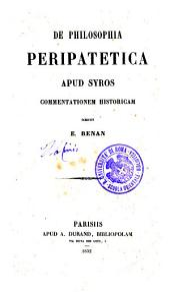 De philosophia peripatetica apud Syros commentatio historica