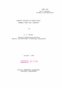 Washout Testing of Mixed Oxide Ceramic Core Fuel Elements PDF