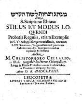 Minhāg we-saḥûtlešôn haq-qodeš sive S. Scripturae Ebraeae stilus et modus loquendi ...: probatis regulis, etiam exemplis ... explicatus ...