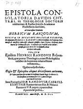 Epistola Consolatoria ad Henricum Ranzovium ... de immraturo filii sui Caji Ranzovii (etc.)
