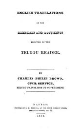 English Translations of the Exercises and Documents Printed in the Telugu Reader