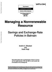 Managing a Nonrenewable Resource: Saving and Exchange Rate Policies in Bahrain