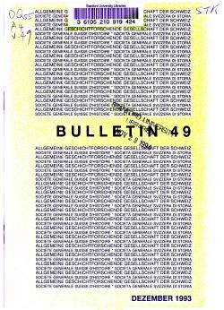 Bulletin   Allgemeine Geschichtforschende Gesellschaft der Schweiz PDF