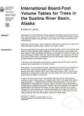International board-foot volume tables for trees in the Susitna River Basin, Alaska