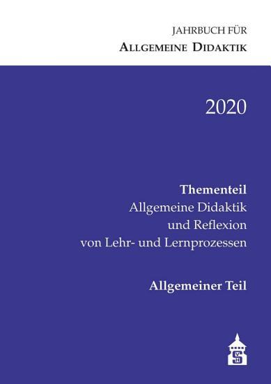 Jahrbuch f  r Allgemeine Didaktik 2020 PDF