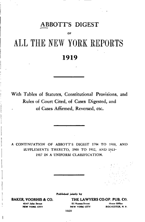 Abbott's Digest of All the New York Reports ...