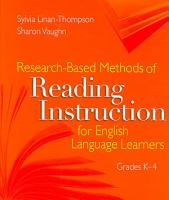 Research based Methods of Reading Instruction for English Language Learners  Grades K 4 PDF