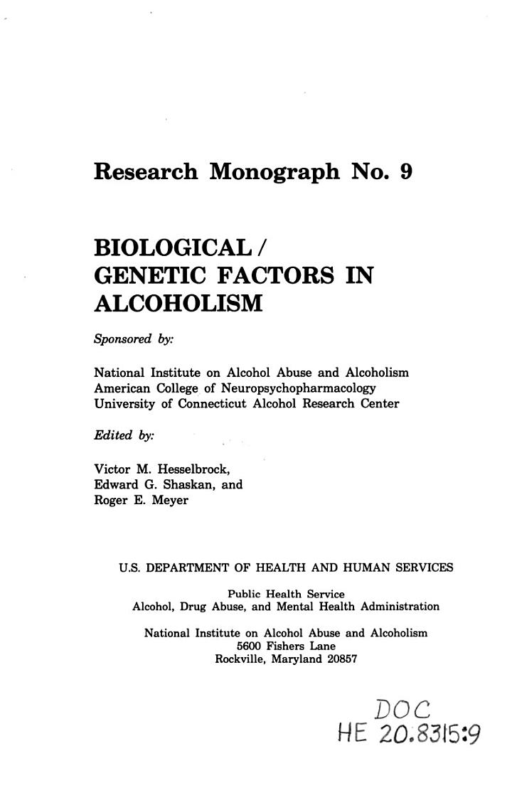 Biological/genetic Factors in Alcoholism