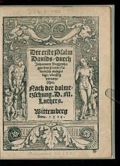 ¬Der erste Psalm Davids, durch Johannem Bugenhagen den Pomer lateynisch außgelegt, vleyssig verteutzschet