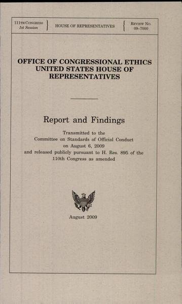 Download Office of Congressional Ethics United States House of Representatives Book